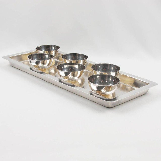 Christofle Art Deco Silver Plate Ice Cream Cup Set & Serving Tray - 7 Pc. Set - Image 3 of 9