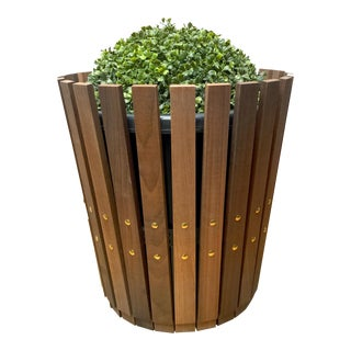 Customizable Plantum Natural American Hardwood Modular Planter Cover with Brass Rivets For Sale