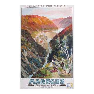 1936 French Vintage Travel Poster, Mareges Dam For Sale