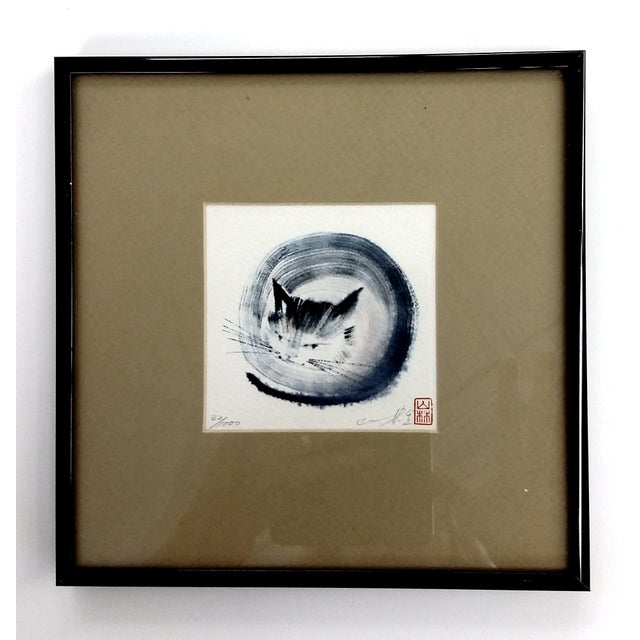 Japanese Collectible Watercolor Cats - A Pair - Image 3 of 10