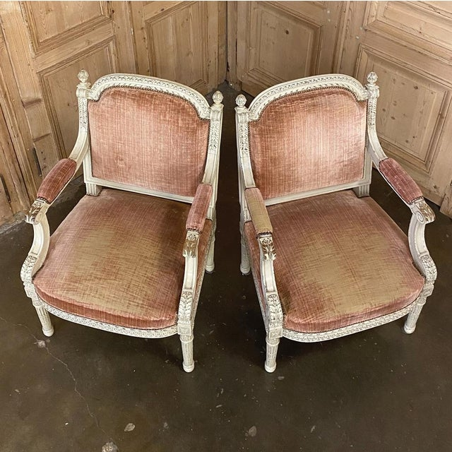 Late 19th Century Pair 19th Century French Louis XVI Painted Armchairs ~ Fauteuils For Sale - Image 5 of 13