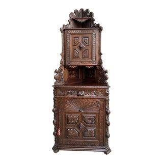 Antique French Carved Oak Corner Cabinet Bookcase Black Forest Renaissance For Sale