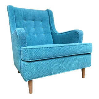 Mid-Century Modern Retro Blue Lounge Chair For Sale