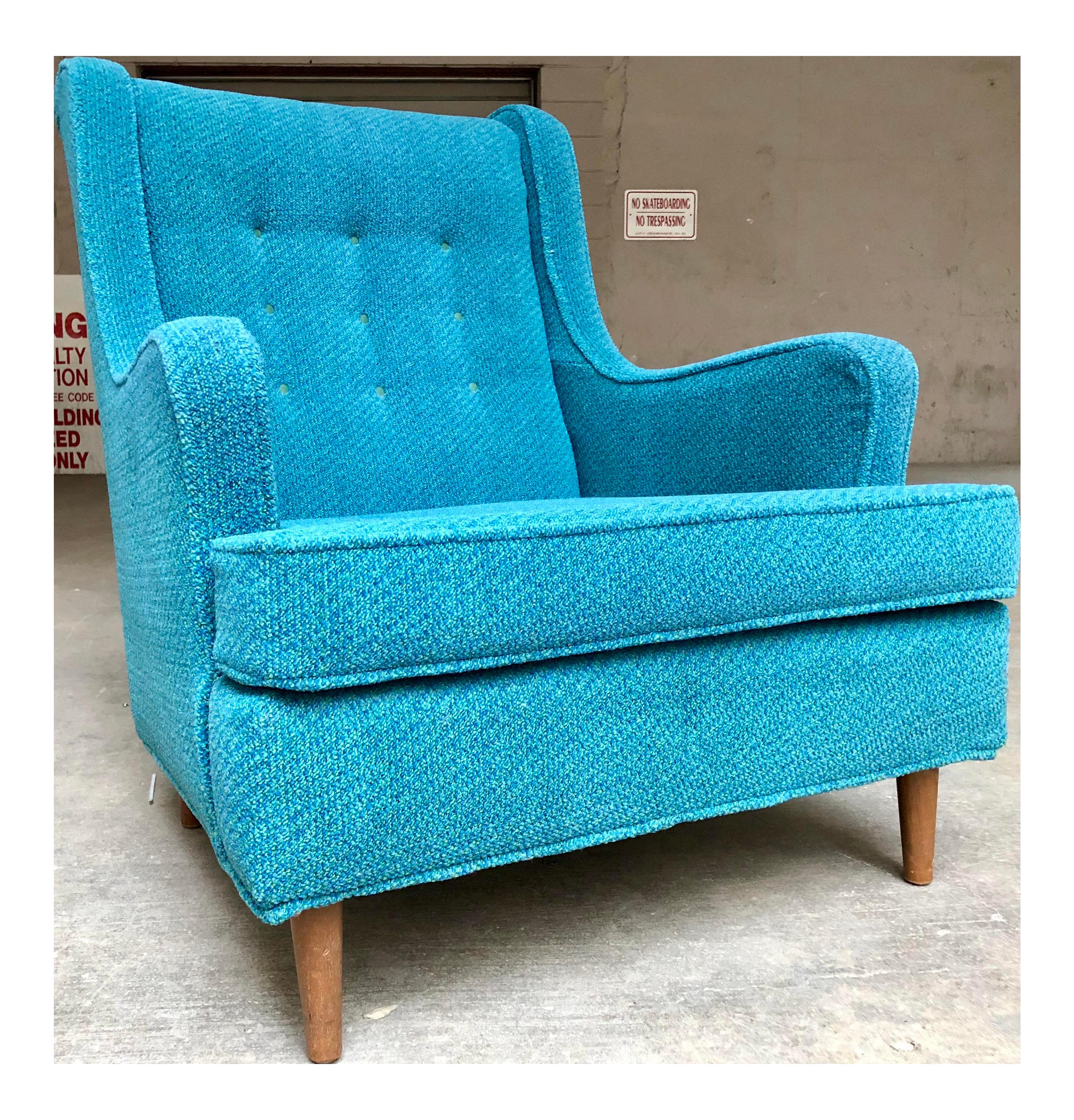 Mid Century Modern Retro Blue Lounge Chair