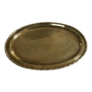 Regency Mid-Century Faux Bamboo Edge Brass Oval Tray For Sale