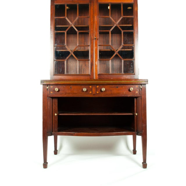 Glass Charak Hand-Carved Mahogany Wood Two Piece Display Cabinet For Sale - Image 7 of 13