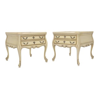 Pair of Country French Provincial End Side Tables Marble Tops For Sale