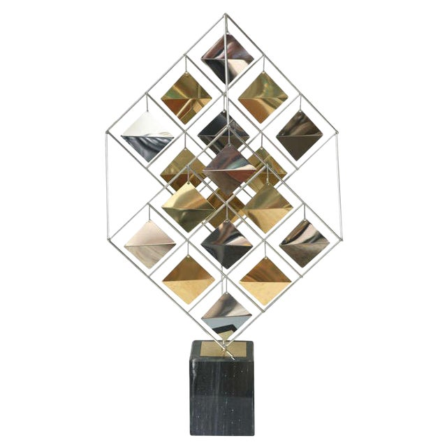 Brass and Chrome Sculpture by Curtis Jere For Sale