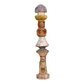 1850s Polychrome Ceremonial House Post For Sale