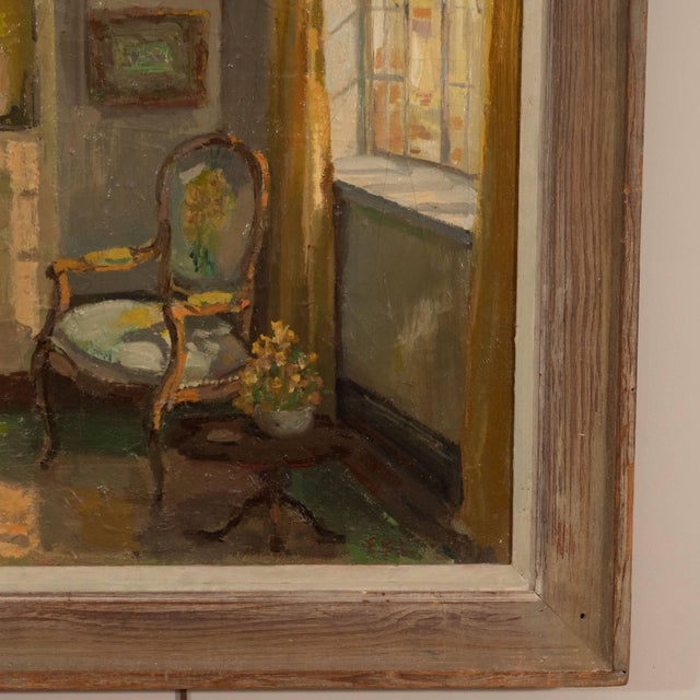 Mid-Century Modern Framed Oil Painting of an Interior For Sale - Image 3 of 11