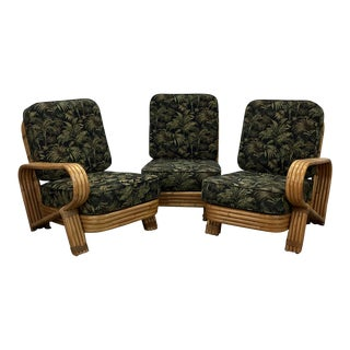 1940s Vintage Strand Rattan Seating Set- 3 Pieces For Sale
