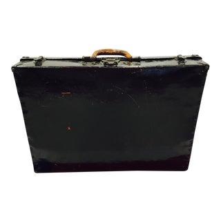 Antique Black Lacquered Suitcase For Sale