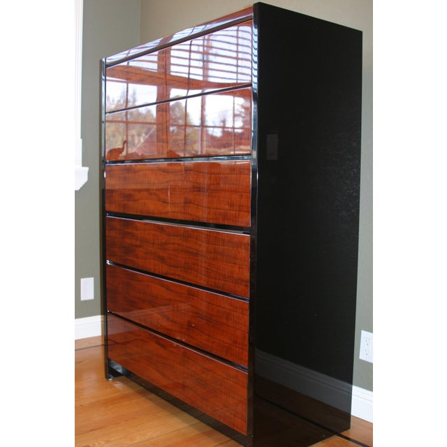 Henredon Black Lacquer & Koa Wood Dressers - A Pair For Sale - Image 10 of 11