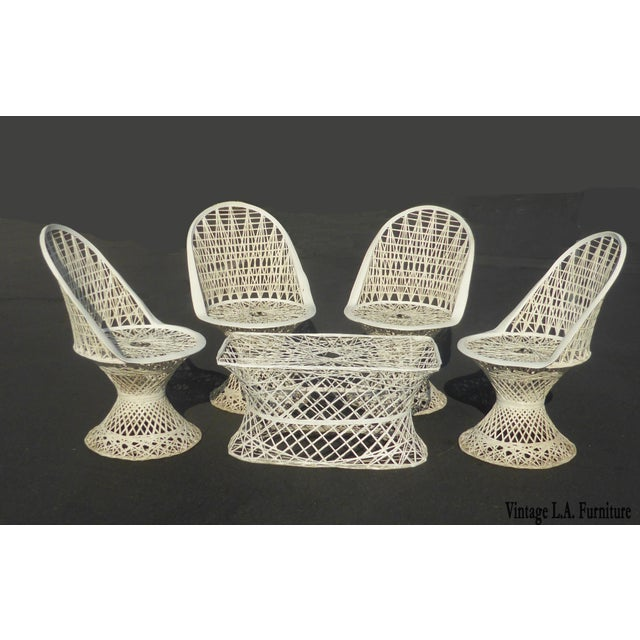 Four Spun Fiberglass White Chairs & Coffee Table by Russell Woodard Patio Set - Image 2 of 11