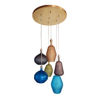 Large Colorful Murano Glass Mid Century Modern Chandelier, Leucos Style, 1980s For Sale