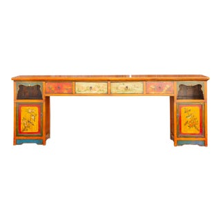 Very Long Colorful Mongolian Console For Sale