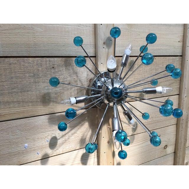 Glass Aqua Blue Murano Glass Sputnik Flush Mount or Wall Sconce For Sale - Image 7 of 10