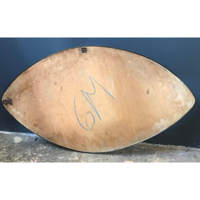 Gold Italian Midcentury Oval Brass Wall Mirror, 1950s For Sale - Image 8 of 10