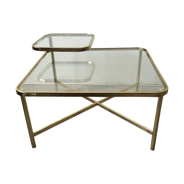 Baughman Style Brass & Glass Swivel Coffee Table - Image 1 of 9