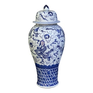 Large Vintage Chinese Blue & White Dragon Floor Vases For Sale