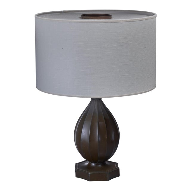 Just Andersen rounded metal table lamp, Denmark, 1930s For Sale