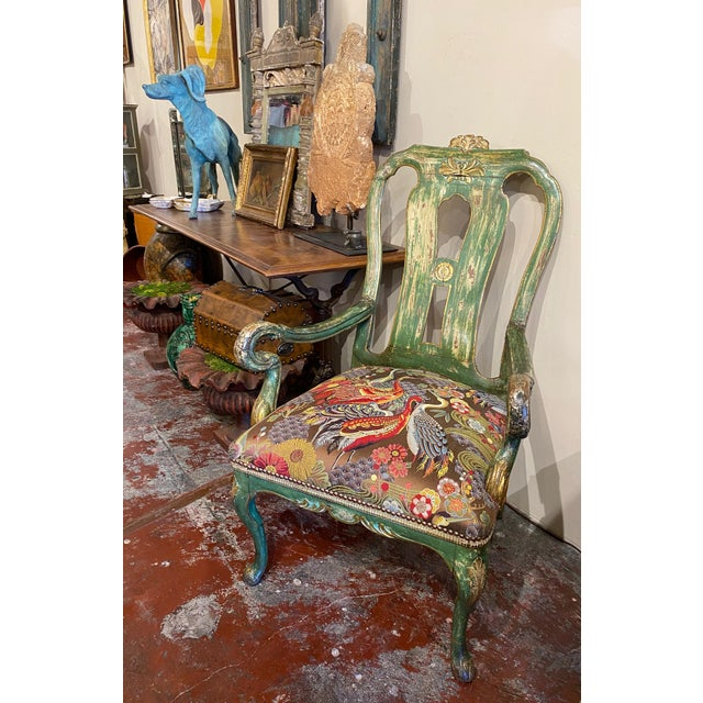 Italian Paint and Gilt Arm Chair For Sale - Image 9 of 10