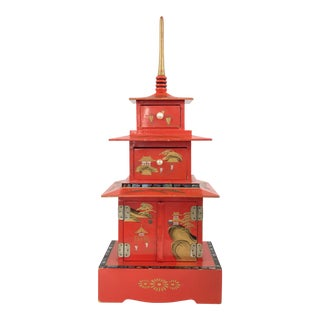 Vintage Pagoda Chinoiserie Jewelry Musical Box Geisha For Sale