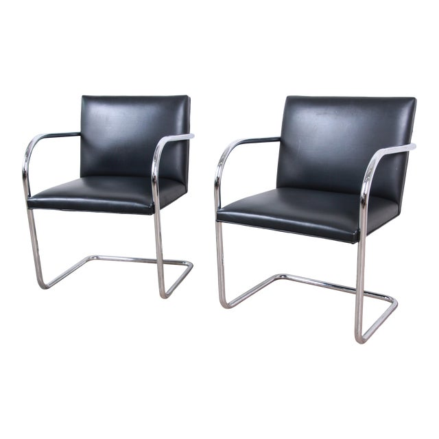 Mies Van Der Rohe for Knoll Black Leather and Chrome Brno Chairs - a Pair For Sale