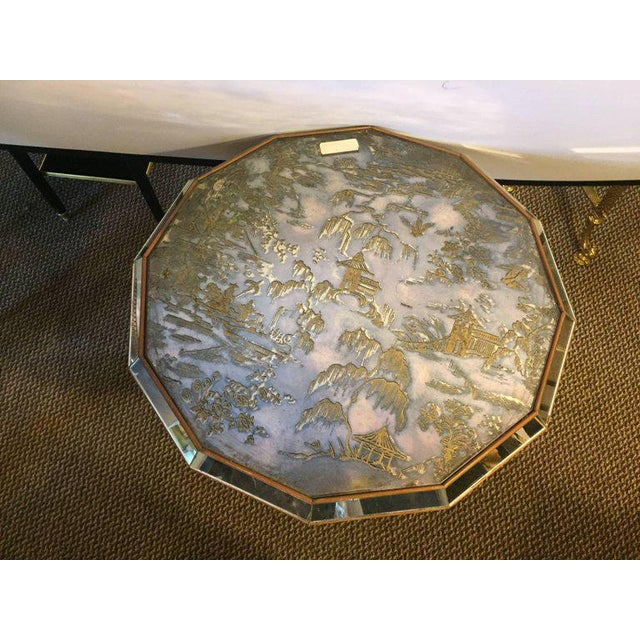 Hollywood Regency Chinoiserie Style Center Table with Eglomise Glass Top on a Single Pedestal For Sale - Image 3 of 10