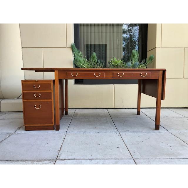Brown 1950s Scandinavian Modern David Rosén Desk / Skrivbord Nordiska Kompaniet/ Drop Leaf Writing Desk For Sale - Image 8 of 8