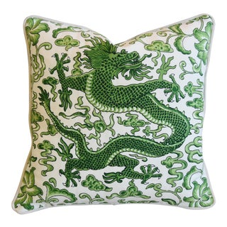 "Italian Chinoiserie Scalamandre Dragon Feather/Down Pillow 19"" Square For Sale"