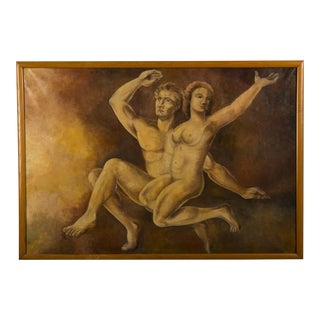 Vintage Dutch Oil painting of Adam and Eve by M. Raemdonck, 1942 For Sale