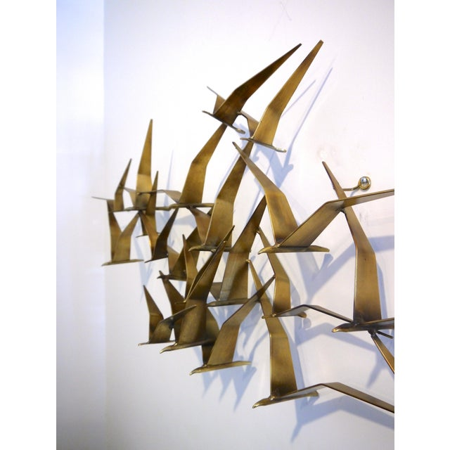 "1968 C. Jere Brass Brutalist "" Birds in Flight"" Wall Sculpture For Sale In Raleigh - Image 6 of 8"