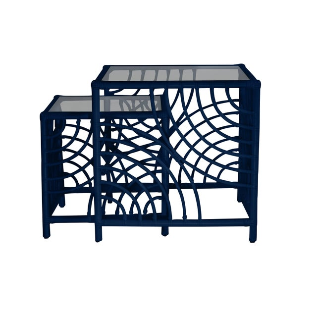 Not Yet Made - Made To Order Swirl Nesting Tables - Navy Blue For Sale - Image 5 of 6