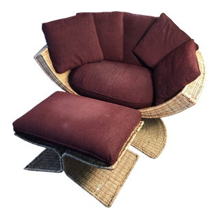 Woven Wicker Lotus Chair With Ottoman For Sale