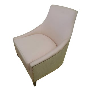"""Contemporary Glam Pink and Tan Linen """"Fashionista"""" Slipper Chair For Sale"""