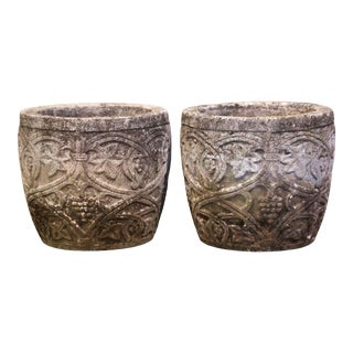 Pair of Early 20th Century Carved Stone Planters With Vine and Grape Decor For Sale