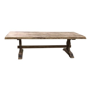 Antique Rustic Stripped Sycamore Trestle Table For Sale