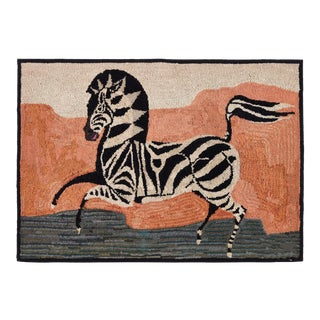 American Hooked Rug Depicting a Zebra For Sale