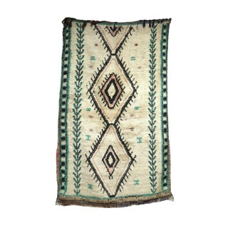 1960s Moroccan Handwoven Turquoise and Ivory Wool Rug