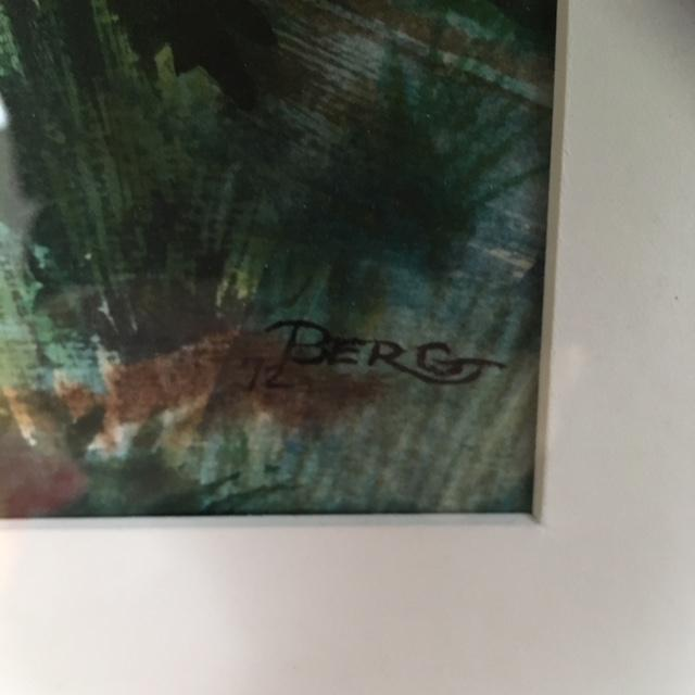"""This large 1950's Watercolor of a forrest scene is signed """"Berg"""". Gold wooden mid century frame with white matte...."""