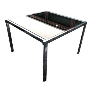 1970s Modern Milo Baughman for DIA Chrome and Tinted Glass Extendable Dining Table For Sale