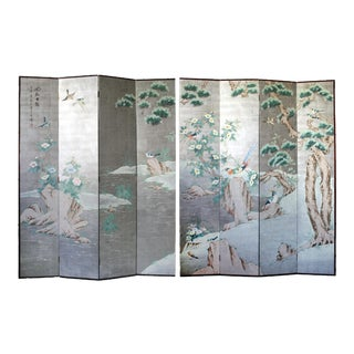 Pair of 8 Panel Hand Painted Chinoiserie Folding Screen For Sale