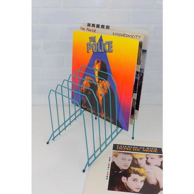 Mail File Holder Letter Sorter Vintage Aqua Blue Color Wire Storage Decor Music Record Album Man Cave Mid Century Mod...