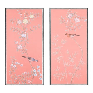 "Jardins en Fleur ""Luton House"" Chinoiserie Hand-Painted Silk Diptych by Simon Paul Scott in Italian Silver Frame - a Pair For Sale"
