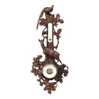 Rustic Black Forest Walnut Barometer For Sale