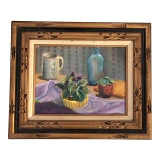 Original Vintage Still Life Painting With Violets Framed For Sale