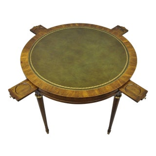 Drexel Heritage French Provincial Louis XVI Green Leather Top Card Game Table For Sale
