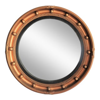 English Gilt Art Deco Bullseye Convex Mirror