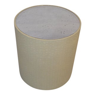 Made Goods Jordan Side Table in Cream Faux Turtle For Sale